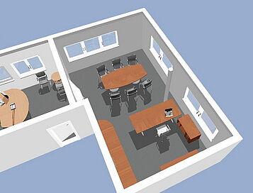 Ansicht Büroplanung in 3D