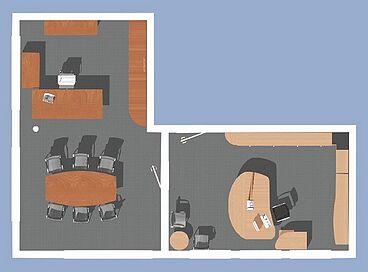 Ansicht Büroplanung in 2D